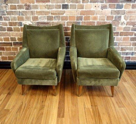 Nice Vintage Lounge Chairs. Vintage Armchairs Green Velvet 1