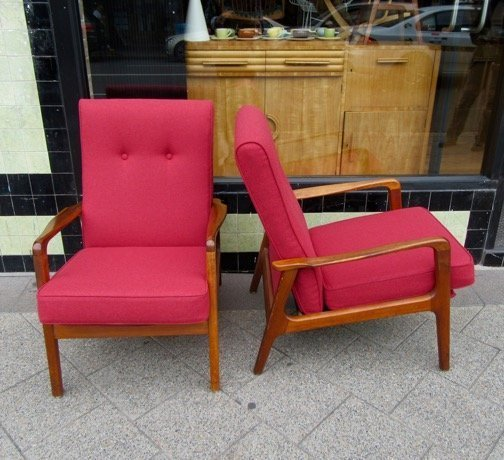 Red Wool Armchairs 1
